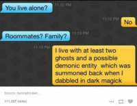 Dank, 🤖, and Dark: 11:12 PM  You live alone?  11:12 PM  No  11:13 PM  Roommates? Family?  11:13 PM  I live with at least two  ghosts and a possible  demonic entity which was  summoned back when I  dabbled in dark magick  Source: damnafricawh.  111,297 notes