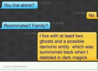 Memes, Roommate, and Ghost: 11:12 PM  You live alone?  11 12 PM  No  1113 PM  Roommates? Family?  11:13 PM  I live with at least two  ghosts and a possible  demonic entity which was  summoned back when I  dabbled in dark magick  Sowce damnatricewh My kind of girl !