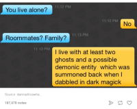Dank, 🤖, and Dark: 11:12 PM  You live alone?  11:12 PM  No  Roommates? 11:13 PM  Family?  11:13 PM  I live with at least two  ghosts and a possible  demonic entity which was  summoned back when I  dabbled in dark magick  Source: damnafricawha.  187,678 notes