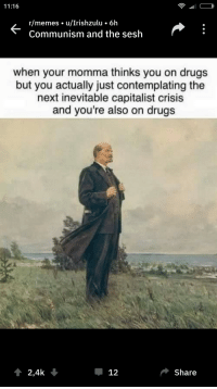 awesomesthesia:  Me IRL: 11:16  r/memes u/Irishzulu 6h  Communism and the sesh  when your momma thinks you on drugs  but you actually just contemplating the  next inevitable capitalist crisis  and you're also on drugs  2,4k  Џ 12  Share awesomesthesia:  Me IRL