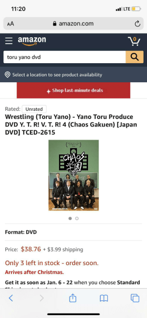 u/canaryyell0w I'm sleep deprived b not thinking straight. If anybody BUT jay white wins IWGP heavyweights and intercontinental championships... I will buy all 3 copies.: 11:20  l LTE  AA  amazon.com  = amazon  toru yano dvd  Select a location to see product availability  Shop last-minute deals  Rated: Unrated  Wrestling (Toru Yano) - Yano Toru Produce  DVD Y. T. R! V. T. R! 4 (Chaos Gakuen) [Japan  DVD] TCED-2615  YT-RIVTT  ECHAE  Format: DVD  Price: $38.76 + $3.99 shipping  Only 3 left in stock - order soon.  Arrives after Christmas.  Get it as soon as Jan. 6 - 22 when you choose Standard u/canaryyell0w I'm sleep deprived b not thinking straight. If anybody BUT jay white wins IWGP heavyweights and intercontinental championships... I will buy all 3 copies.