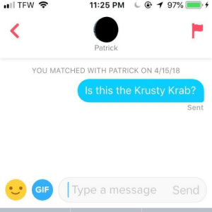 Dude, Gif, and Best: 11:25 PM  97%  Patrick  YOU MATCHED WITH PATRICK ON 4/15/18  Is this the Krusty Krab?  Sent  GIF  Type a message  Send Come on, dude. This is my best material.