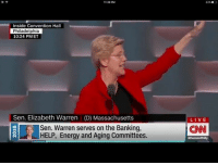 Elizabeth Warren can you salute any other way?: 11:30 PM  Inside Convention Hall  Philadelphia  10:24 PM ET  Sen. Elizabeth Warren (D) Massachusetts  Sen. Warren serves on the Banking,  HELP, Energy and Aging Committees.  LIVE  CNN Elizabeth Warren can you salute any other way?