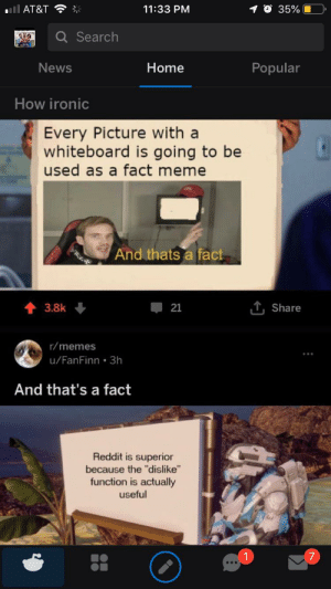 """Ironic, Meme, and Memes: 11:33 PM  35%  ll AT&T  Q Search  News  Home  Popular  How ironic  Every Picture with a  whiteboard is going to be  used as a fact meme  And thats a fact  T, Share  3.8k  21  r/memes  u/FanFinn 3h  And that's a fact  Reddit is superior  because the """"dislike""""  function is actually  useful Ant that's a fact"""