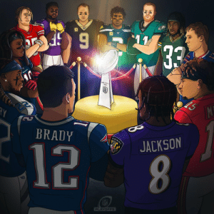 The postseason is HERE.  Who wants it the most? 🏆✨  #NFLPlayoffs | #WeReady https://t.co/J6LoxoQtm9: 11  33  TEXANS  Thawy  M!  BRADY  RAVENS  JACKSON  12  8.  FECE  NFL  PLAYOFFS The postseason is HERE.  Who wants it the most? 🏆✨  #NFLPlayoffs | #WeReady https://t.co/J6LoxoQtm9