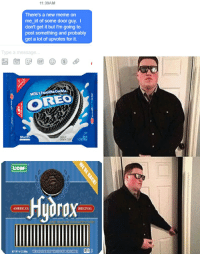me irl: 11:39AM  There's a new meme on  me irl of some door guy. I  don't get it but I'm going to  post something and probably  get a lot of upvotes for it.  Type a message  OREO  LeaF  ORIGINAL  AMERICAS  locOLATE SAND  NET 140zasekl THESAMEGRETTSEROUREMEMBER me irl