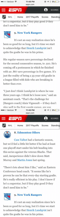 """ESPN SAID HENRIK LUNDQVIST WAS THE 9th BEST GOALIE IN THE PLAYOFFS LMAOOO 😂 BEHIND CAM TALBOT 😂😂😂 hold this L @ESPN https://t.co/sdTN7vVaNE: 11:48 PM  9%  oooooo Verizon  espn.com  SCORES  NHL Home  2017 Playoffs  Scores  Standing  he's a superstar, but ifthey play good D they  don't need him to be.""""  9. New York Rangers  NEW YORK  It's not an easy realization since he's  been so good for so long, but it's time we start  to acknowledge that Henrik Lundqvist isn't  quite the goalie he was in his prime  His regular-season save percentage declined  for the second consecutive season, to .910. He's  coming off a postseason in which he finished  with an .867 save percentage in five games. It's  just the reality of being a 35-year-old goalie in  a league filled with kids who are breaking in  better than ever.  """"I just don't think Lundqvist is where he was  three years ago. I think he's loose now,"""" said an  assistant coach. """"That's the challenge for  [Rangers coach] Alain Vigneault if they don't  play well in the first couple games. are you   11:49 PM  9%  ooooo Verizon  espn.com  SCORES  NHL Home  2017 Playoffs  Scores  Standing  8. Edmonton Oilers  Cam Talbot had a fantastic season,  but we'd feel a little bit better if he had at least  one playoff start under his belt heading into  this series against the veteran Sharks. That  said, inexperience didn't slow down Matt  Murray and Martin Jones last spring.  """"There's lots about him I like  said an Eastern  Conference head coach. """"It seems like he's  proven he can be that every-day starting goalie  He's really efficient in his play. I don't know if  he's a superstar, but if they play good D they  don't need him to be.""""  9. New York Rangers  NEW YORK  It's not an easy realization since he's  been so good for so long, but it's time we start  to acknowledge that Henrik Lundqvist isn't  quite the goalie he was in his prime. ESPN SAID HENRIK LUNDQVIST WAS THE 9th BEST GOALIE IN THE PLAYOFFS LMAOOO 😂 BEHIND CAM TALBOT 😂😂😂 hold thi"""
