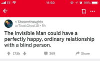 "<p>What a lovely thought. via /r/wholesomememes <a href=""https://ift.tt/2IH0hXG"">https://ift.tt/2IH0hXG</a></p>: 11:50  /Showerthoughts  u/ToastGhost18 5h  The Invisible Man could have a  perfectly happy, ordinary relationship  with a blind person.  369  Share <p>What a lovely thought. via /r/wholesomememes <a href=""https://ift.tt/2IH0hXG"">https://ift.tt/2IH0hXG</a></p>"