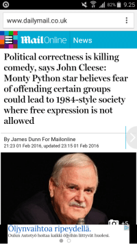 "Chris Rock, Definitely, and Nasty: .11 82%  9.25  www.dailymail.co.uk  mailOnline News  Political correctness is killing  comedy, says John Cleese:  Monty Python star believes fear  of offending certain groups  could lead to 1984-style society  where free expression is not  allowed  By James Dunn For Mailonline  21:23 01 Feb 2016, updated 23:15 01 Feb 2016  Oljynvaihtoa ripeydellä.  Oulun Autotyö hoitaa kaikki öljyihin liittyvät huolesi <p><a class=""tumblr_blog"" href=""http://sillybitchynerd.tumblr.com/post/138642965977"">sillybitchynerd</a>:</p><blockquote> <p><a class=""tumblr_blog"" href=""http://realvivianjames.tumblr.com/post/138640428329"">realvivianjames</a>:</p> <blockquote> <p><a class=""tumblr_blog"" href=""http://odinoco.tumblr.com/post/138640286275"">odinoco</a>:</p> <blockquote> <p><a class=""tumblr_blog"" href=""http://theothersideofthefarside.tumblr.com/post/138640212477"">theothersideofthefarside</a>:</p> <blockquote> <p><a class=""tumblr_blog"" href=""http://conservababe.tumblr.com/post/138638591731"">conservababe</a>:</p> <blockquote> <p><a class=""tumblr_blog"" href=""http://geezerman34.tumblr.com/post/138637298454"">geezerman34</a>:</p> <blockquote> <p><a class=""tumblr_blog"" href=""http://double-barrel-blake.tumblr.com/post/138630485846"">double-barrel-blake</a>:</p> <blockquote> <p><a class=""tumblr_blog"" href=""http://theinturnetexplorer.tumblr.com/post/138627872818"">theinturnetexplorer</a>:</p> <blockquote> <p>its definitely starting to feel like that.</p> </blockquote> <p>I'll follow john cleese to the gates of hell.</p> </blockquote> <p>""Could lead to it.."" It's already here..<br/></p> </blockquote> <p>^^</p> </blockquote> <p>Didn't Chris Rock say this</p> </blockquote> <p>they're all saying it, look at what happened to Jerry Seinfield</p> </blockquote> <p>Worse: all of them are saying it <i>except the women.</i></p> <p>I mean, unless you know some women comedians who have spoken out against the PC culture in comedy. I don't know of any, so I'm only speaking from what I know.<br/></p> </blockquote> <p>Because women are not the ones being stifled creativly. They can freely talk about what ever they want and people wouldn't DARE mention it. I shit you not, any conversation or joke about rape is laughed at when it comes from a woman. But a man?! </p> <p>We sit on the comfy side of this outcry. We aren't being effected so why should we bother speaking out? We get more praise and attention when we turn against each other too. The moment we decide to put on the feminist label the more people flock to get an interview with us. The more we are called 'brave' or 'progressive'. </p> <p>On the flip side if we speak AGAINST this social wave, we get swept up in hate and anger. People start writing nasty things about us, damaging out careers. That's the big difference and it's why you hardly ever see female stars doing this. They get slammed. </p> </blockquote>"