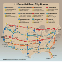 <p>Must-Do Road Trips In The US</p>: 11 Essential Road Trip Routes  Pacific Coast The Road to Nowhere O Atlantic Coast  1 Olympic National Park 5 Sting Bull Memorial 11 Fountain of Youth  2 Hearst Castle  Loneliest Road  17 Milion Dollar Highway  6 Buffalo B Rodeo  12 Kennedy Space Center 18 Santa Fe Trail  2 Border to Border The Great River Road 7The Great Northern 10 Southern Pacific  3 Sun Valey  4 Extraterrestrial Highway 8 Evis Presey's Graceland 14 Roadside Giants  7 Mark Twain's Hometown 13 Glacier National Park 19 The Thing  20 Bonnie and Clyde  ¥Appalachian Trail ,The Oregon Trail  9 Gettysburg  0 Biue Ridge Parkway 16 Niagra Falls  |Route 66  21 London Bridge  22 Cadillac Ranch  15 Mount Rushmore  ME  15  9  Nw York City  Saa  Oakland  San Francisoo  Co  UT  St L  Wcht  Barbra as Vea  Los Angeles  TN  San Diego  Savannah  ElPaso  New  Orears  12  Beach  Key West  SOURCE: http://www.roadtripusa.com/routes html <p>Must-Do Road Trips In The US</p>