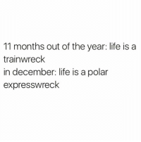 Life, Anxiety, and Girl Memes: 11 months out of the year: life is a  trainwreck  in december: life is a polar  expresswreck Anxiety but make it festive