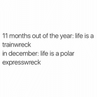 Girl Memes, Polarization, and Choo Choo: 11 months out of the year: life is a  trainwreck  in december: life is a polar  expresswreck Choo choo bitches 🚂