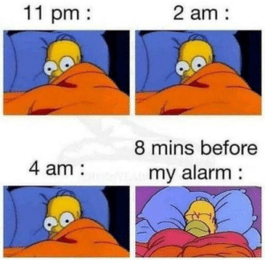 meirl: 11 pm  2 am:  8 mins before  4 am:  my alarm: meirl
