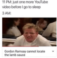 11 PM: just one more YouTube  video before go to sleep  3 AM  Gordon Ramsay cannot locate  the lamb sauce So tru