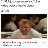 Go to Sleep, Gordon Ramsay, and Lmao: 11 PM: just one more YouTube  video before I go to sleep  3 AM:  Gordon Ramsay cannot locate  the lamb sauce Lmao