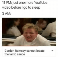Go to Sleep, Gordon Ramsay, and Memes: 11 PM: just one more YouTube  video before I go to sleep  3 AM:  Gordon Ramsay cannot locate  the lamb sauce It's nearly 2am here and I'm watching reruns of hell's kitchen 😭🤣😴