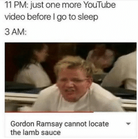 I looked this up and it's my new favorite video: 11 PM: just one more YouTube  video before I go to sleep  3 AM  Gordon Ramsay cannot locate  the lamb sauce I looked this up and it's my new favorite video