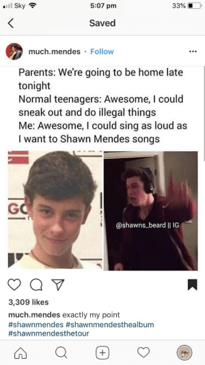 Beard, Meme, and Parents: '11 Sky  5:07 pm  33% iO  Saved  much.mendes Follow  Parents: We're going to be home late  tonight  Normal teenagers: Awesome, I could  sneak out and do illegal things  Me: Awesome, I could sing as loud as  I want to Shawn Mendes songs  GO  @shawns_beard II IG  3,309 likes  much.mendes exactly my point  You know me too well person who dis this meme | му ℓσνєѕ | Pinterest ...