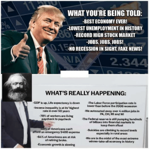 Reality: 11  WHAT YOU'RE BEING TOLD:  -BEST ECONOMY EVER!  -LOWEST UNEMPLOYMENT IN HISTORY  86-RECORD HIGH STOCK MARKET  -JOBS, JOBS, JOBS!  0.1ENO RECESSION IN SIGHT, FAKE NEWS!  2.344  WHAT'S REALLY HAPPENING:  -GDP is up, Life expectancy is down  -The Labor Force participation rate is  lower than before the 2008 recession  -Income inequality is at its' highest  rate in over 50 years  -We automated away over 4 million jobs in  PA, OH, MI and WI  -78% of workers are living  paycheck to paycheck  -The Federal reserve is still pumping hundreds  of billions into financial markets to  keep them afloat  -40% of Americans can't  afford an emergency $400 expense  -Suicides are climbing to record levels  especially in rural areas  -64% of Americans are at risk  -We are in the midst of the most extreme  winner-take-all economy in history  of retiring broke.  -Economic growth is slowing Reality