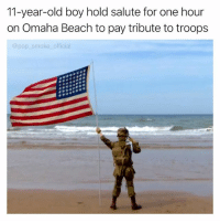 Memes, Pop, and Beach: 11-year-old boy hold salute for one hour  on Omaha Beach to pay tribute to troops  @pop smoke official This got me in the feels