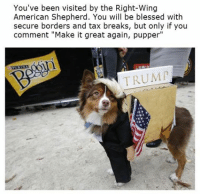 """ayyy dogggo - ComradeKek: You've been visited by the Right-Wing  American Shepherd. You will be blessed with  secure borders and tax breaks, but only if you  comment """"Make it great again, pupper""""  ILALT  TRUMP ayyy dogggo - ComradeKek"""