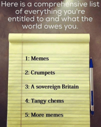 Crumpet: Here is a comprehensive list  of everything you're  entitled to and what the  world owes you  1: Memes  2: Crumpets  3: A sovereign Britain  4: Tangy chems  5: More memes