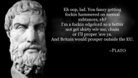 Meme, Memes, and Fancy: Eh oop, lad. You fancy getting  fockin hammered on memal  subtances, eh?  I'm a fockin edgelord so u better  not get shirty wiv me, chum  or I'll proper 'ave ya.  And Britain would prosper outside the EU.  PLATO Made by The Capitalist Meme-Lord