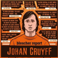 "Barcelona, Paintings, and Soccer: ""JOHAN CRUYFF PAINTED THE CHAPEL  ""HEISLKE THE  PLAYING FOOTBALL IS VERY SMPLE  AND BARCELONA COACHES SINCE  GODFATHER OF  BUT PLAYING SIMPLE FOOTBALL IS  MERELY RESTORE OR MPROVE IT"" DUTCH FOOTBALL  THE HARDEST THING THERE IS  Frank  ""HE WAS CERTAINLY THE BEST  ""CRUYFF REINVENTED THE CONCEPT  FOOTBALLER EUROPE HAS  OF FOOTBALL IN THIS  PRODUCED""  Miguel Angel Nadel  NO CRUYFE NO DREAM TEAM.  ""FIWANTED YOU TO  NO CRUYFE NO CANTERA.  UNDERSTANDIWOULD HAVE  NO CRUYFE NO JOAN LAPORTA  EPLAINED IT BETTER""  NO CRUYFE NO FRANK RUKAARD  Johan Cruyff  NO CRUYFF NO PEP GUARDIOLA""  nF HE WANTED HE COULD  BE THE BEST PLAYER  ""BEFORE IMAKEAMISTAKE,  IN ANY POSITION  I DONT MAKE THAT  ON THE PITCH  MISTAKE""  ENIC Cantona  bleacher report  JOHAN CRUYFF Amazing quotes from and about Cruyff."