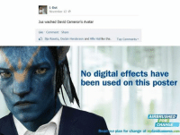 Avatar Memes: L-Dot  November 12  Jus wached David Cameron's Avatar  Like Comment Share  Iija Raseta, Dedan Henderson and Alfie Hal ike this.  Top Comments  No digital effects have  A been used on this poster  AIRBRUSHED  FOR  CHANGE  Read ur plan for change at mydavidcameron.com