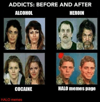 We're the perfect drug ~Ichor: ADDICTS: BEFORE AND AFTER  ALCOHOL  HEROIN  HALO memes page  COCAINE  HALO memes We're the perfect drug ~Ichor