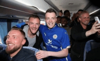 The Jamie Vardy lookalike has been invited onto the team bus to join the Leicester players. This is too awesome!: Nu  AG7WER The Jamie Vardy lookalike has been invited onto the team bus to join the Leicester players. This is too awesome!