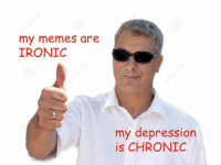 Ironic Memes: my memes are  IRONIC  my depression  is CHRONIC