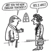 English: ARE YOU THE NEW  YESI ARE!  ENGLISH TEACHER P  l a u g hing col o ur s .co m