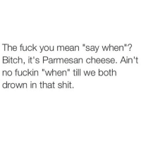 """The Fuck You Mean: The fuck you mean """"say when  Bitch, it's Parmesan cheese. Ain't  no fuckin """"when"""" till we both  drown in that shit."""