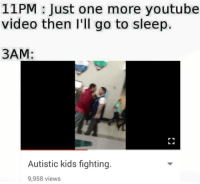 Video: 11PM Just one more youtube  video then I'll go to sleep.  3AM  Autistic kids fighting.  9,958 views