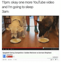 Memes, youtube.com, and German Shepherd: 11pm: okay one more YouTube video  and I'm going to sleep  3am:  157/241  Spaghetti Eating Competition: Golden Retriever vs German Shepherd  TheBragdBirger  D Subsonibe  206  1,860,624  163249タ1113 |  +Addto Share More Well I can't skip this video. I need to find out who wins 😮🍿(@theworldpolice)