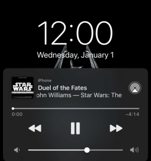 Starting 2020 right: 12:00  Wednesday, January 1  REMASTERED  iPhone  STAR  WARS Duel of the Fates  THE PHANTOM MENACE  ohn Williams – Star Wars: The  MC COOED AND CONDIIO JOHN WILLIAMS  THE LONDON SYMPHONY ORCHESTRA  -4:14  0:00  %3| Starting 2020 right
