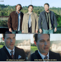 Arthur, Memes, and Sorry: 12.08  Ron sorry. Who the hell dre you?  DAILY WINCHESTERPOSTS  Arthur Ketch. British Men of Letters.  Oh. Where are my manners? 12.08 opinions on ketch?? 🇬🇧 supernatural