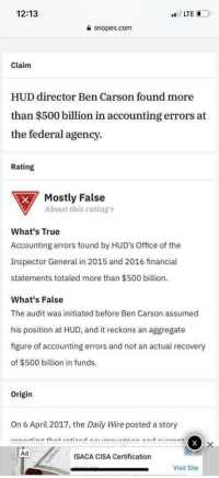 snopes.com: 12:13  LTE  a snopes.com  Claim  HUD director Ben Carson found more  than $500 billion in accounting errors at  e federal agency.  Rating  Mostly False  About this rating>  What's True  Accounting errors found by HUD's Office of the  Inspector General in 2015 and 2016 financial  statements totaled more than $500 billion.  What's False  The audit was initiated before Ben Carson assumed  his position at HUD, and it reckons an aggregate  figure of accounting errors and not an actual recovery  of $500 billion in funds.  Origin  On 6 April 2017, the Daily Wire posted a story  reporting that retired neurosurgeon and curren  Ad  ISACA CISA Certification  Visit Site