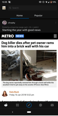 R Trashy: 12:25  Search  Home  Popular  r/trashy  Posted by u/maut-ka-nanga-nach 3h i.redd.it  Starting the year with good news  METRO NEWS  Dog killer dies after pet owner rams  him into a brick wall with his car  The dog owner reportedly rammed him through a brick wall while the  assailant tried to get away on his scooter (Picture: Asia Wire)  Kate Buck  Friday 19 Jan 2018 5:02 pm