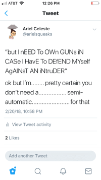 "Arguing, Ariel, and DeMarcus Cousins: 12:26 PM  Tweet  Ariel Celeste  @arielsqueaks  ""but I nEED To OWn GUNs iN  CASe I HavE To DEfEND MYself  AgAINST AN İNtruDER""  ok but I'm.pretty certain you  don't need a  automatic.  2/20/18, 10:58 PM  for that  View Tweet activity  2 Likes  Add another Tweet <p><a href=""http://friendly-neighborhood-patriarch.tumblr.com/post/176323034267/russiansupport"" class=""tumblr_blog"">friendly-neighborhood-patriarch</a>:</p>  <blockquote><p><a href=""http://russian--support.tumblr.com/post/176322915232/friendly-neighborhood-patriarch"" class=""tumblr_blog"">russian–support</a>:</p>  <blockquote><p><a href=""http://friendly-neighborhood-patriarch.tumblr.com/post/176322834387/russiansupport-theidledrifter"" class=""tumblr_blog"">friendly-neighborhood-patriarch</a>:</p>  <blockquote><p><a href=""http://russian--support.tumblr.com/post/176322727632/theidledrifter-russiansupport"" class=""tumblr_blog"">russian–support</a>:</p>  <blockquote><p><a href=""https://theidledrifter.tumblr.com/post/176322572207/russiansupport-lightofliberty"" class=""tumblr_blog"">theidledrifter</a>:</p>  <blockquote><p><a href=""http://russian--support.tumblr.com/post/176321705962/lightofliberty-arielsqueaks-i-tweeted-this-a"" class=""tumblr_blog"">russian–support</a>:</p>  <blockquote><p><a href=""https://lightofliberty.tumblr.com/post/176320875866/arielsqueaks-i-tweeted-this-a-few-months-ago"" class=""tumblr_blog"">lightofliberty</a>:</p><blockquote> <p><a href=""http://arielsqueaks.tumblr.com/post/176163540856/i-tweeted-this-a-few-months-ago-edit-allow-me"" class=""tumblr_blog"">arielsqueaks</a>:</p>  <blockquote> <p>I tweeted this a few months ago</p> <p>  Edit: Allow me to be more specific. You don't need an ak-47 or an ar-15 for that </p> </blockquote>  <p>U can't even get an AK-47 anywhere & I need whichever gun I want. 🙄</p> </blockquote><p>So OP wants me to use only a bolt action rifle which typically fires a 7.62x51mm/.308 or a shotgun, both of which cause greater damage to the target and/or the surrounding area than say a 9mm or a .223/5.56x45mm? </p><p>I would prefer to kill the intruder and only them than to also potentially kill my neighbor or anyone in the adjacent rooms. I'd like the round to bounce around inside my enemy and not go through him.</p><p>Picture below to help you understand the big numbers, OP</p><figure class=""tmblr-full"" data-orig-height=""666"" data-orig-width=""1200""><img src=""https://78.media.tumblr.com/2d56e0c01b5cf39f3f5fa1425de78888/tumblr_pci6rxnmD61sy3zw7_540.jpg"" data-orig-height=""666"" data-orig-width=""1200""/></figure></blockquote>  <p>OP, many home invasions are with teams of 3 to 4 criminals. An AR15 means I can use one magazine to fight them off without reloading. Despite what fiction says. It can take multiple shots to stop someone. Even if such shots are rifle rounds. Also they do make AR carbines chambered for pistol cartridges. </p></blockquote>  <figure class=""tmblr-full"" data-orig-height=""250"" data-orig-width=""450"" data-tumblr-attribution=""machetelanding:omZd8w4032xPbS8BoYTajw:ZNlj6l1k6MJEt""><img src=""https://78.media.tumblr.com/72517c98a24fa35fa2400a9a24828c59/tumblr_nnw4zlexW01uphxvgo1_500.gif"" data-orig-height=""250"" data-orig-width=""450""/></figure></blockquote>  <p>None of these jusrifications are necessary. Get whatever gun you want cuz it brings you happiness. No more reason needed.</p></blockquote>  <p>Necessary, no, but it helps to be articulated against retards like OP.</p><p>Also excellent for home defense:</p><p><br/></p><figure class=""tmblr-full"" data-orig-height=""164"" data-orig-width=""300"" data-tumblr-attribution=""monarchofmurder:DoEOMvCoE0nboHenRkxmVA:ZEcbtr2YKY9o6""><img src=""https://78.media.tumblr.com/e04c6c36fc910b5b305cf432313e4b11/tumblr_p9dait21VJ1sunravo1_400.gif"" data-orig-height=""164"" data-orig-width=""300""/></figure></blockquote>  <p>I just get very frustrated sometimes when people feel the need to provide reasons why their rights should be respected.</p><p>It's not something that needs to be reasoned.</p></blockquote>  <p>I agree that rights shouldn't have to be legitimized because they are simply rights. But it is nice to argue against the asinine ""you don't need that gun for that thing!"" argument that's almost always from people who don't know shit about guns to begin with. I could shoot a much much bigger round with - hunting gun then with an AR 15, but only the big black scary one is the one that they're convinced is a death machine.</p>"