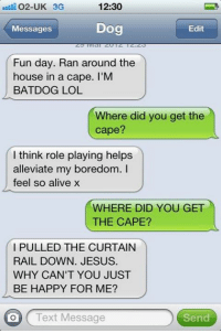 Alive, Memes, and Curtains: 12:30  O2-UK 3G  Dog  Messages  Edit  Fun day. Ran around the  house in a cape. I'M  BAT DOG LOL  Where did you get the  cape?  I think role playing helps  alleviate my boredom.  feel so alive  WHERE DID YOU GET  THE CAPE?  PULLED THE CURTAIN  RAIL DOWN. JESUS.  WHY CAN'T YOU JUST  BE HAPPY FOR ME?  on Text Message  Send Like Our fan Page For daily update!! Text from Dog