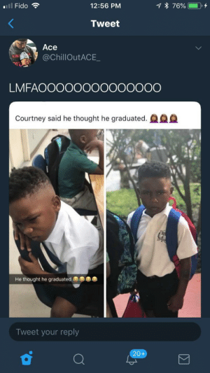 Dank, Homie, and Memes: 12:56 PM  Tweet  Ace  @ChillOutACE_  LMFAOOOOOOOOOOOOOO  Courtney said he thought he graduated.  He thought he graduated  Tweet your reply  20+ Homie thought he was done by Soph1k MORE MEMES
