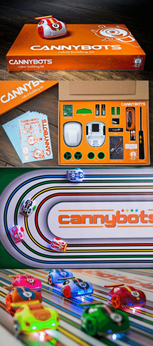 Bluetooth, Bodies , and Cars: 12  CANNYBOTS  robot building kit  CANNYBOTS  robot building kit   robot building kit   cannyböt meme-mage:  Toys 2.0: Smart Toy Robots, Built by Kids - Cannybots They started off as a fun 3D printable open source project for the classroom: now the Cannybots 3D printable racing smart-toy cars are ready to become a real consumer product and have turned to Kickstarter  to collect the necessary funds and begin production. As might have  been expected, since the project had already received a good amount of  positive feedback, it did not take long at all for the Cannybots to zoom  past their $40,000 funding goal, almost tripling it within just the  first three weeks of the campaign. Pledges now stand at $154,000 with 24 days left to go at the time of writing. While the first Cannybots were fully 3D printable and could be  downloaded off the web, these new commercial Cannybots come as a  complete, ready-to-assemble kit, which includes the base and top of the  bot, spoiler, motor brackets, wheels, tires, motors, an  Arduino-compatible Cannybot Brain,  switch, a rechargeable battery, USB cable and a screwdriver;  essentially everything you need to build it, along with the instruction  sheet and a set of 7 stickers to personalize the bot. Those who buy two  or more kits also get a 6 feet long track.  In a way Cannybots represent the future of smart-toys and they are  not exactly cheap. The early bird offer for a single car started at $89,  with $29 more to get the track. In this sense, the $148 Super Early  Bird double pack offer, which includes the track and the possibility to  start racing right away, was probably the best option and in fact it was  the first to run out. In the future, single Cannybots will retail for  $119 and the double pack full retail prices will be set at $267. The new, pre-assembled, injection molded Cannybots certainly look  like more mass-produced toys than the early 3D printed versions. The  project is still very muc