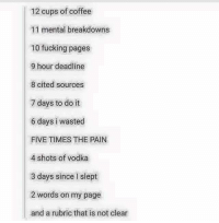 12 Days Of Finals -Zel: 12 cups of coffee  11 mental breakdowns  10 fucking pages  9 hour deadline  8 cited sources  7 days to do it  6 days i wasted  FIVE TIMES THE PAIN  4 shots of vodka  3 days since slept  2 words on my page  and a rubric that is not clear 12 Days Of Finals -Zel