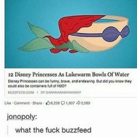 Disney, Funny, and Memes: 12 Disncy Princcsscs As Lukewarm Bowls Of Watcr  Disney Princesses can be funny, brave, and endearing, But did you know thoy  could also be containers full H20?  BUZZFEED COM I BY DANNNNNNNNNNNNY  Like Commont Sharo. 8.258 1,607 2,569  jonopoly:  what the fuck buzzfeed ok ~Elon