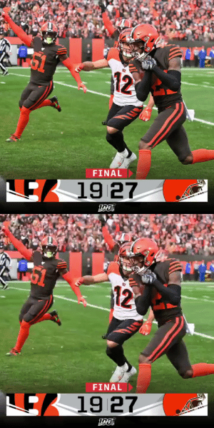 Memes, Browns, and Ohio: 12  FINAL  19 27   12  FINAL  μ.  ES 19 27 FINAL: The @Browns win the Battle of Ohio! #CINvsCLE https://t.co/Y85Wnfj6kj