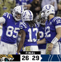 Indianapolis Colts, Memes, and Afc South: 12  FINAL  26 29 FINAL: @Colts hang on in an AFC South battle!  #JAXvsIND #Colts https://t.co/hhd0ueAXpv