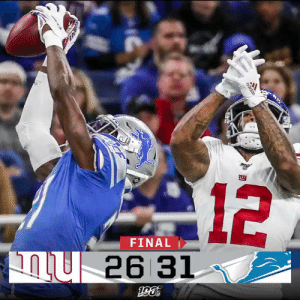 FINAL: Matthew Stafford's three TDs lead the @Lions to victory! #NYGvsDET #OnePride https://t.co/gHs9WJoAvS: 12  FINAL  26 31  adidas FINAL: Matthew Stafford's three TDs lead the @Lions to victory! #NYGvsDET #OnePride https://t.co/gHs9WJoAvS