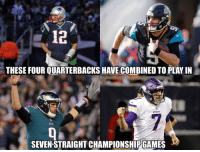 Football, Nfl, and Sports: 12  JAGS  THESE FOUR QUARTERBACKS HAVE COMBINED TO PLAY IN  SEVEN STRAIGHT CHAMPIONSHIP GAMES Fun fact of the night.. https://t.co/PjcKHUU3TS
